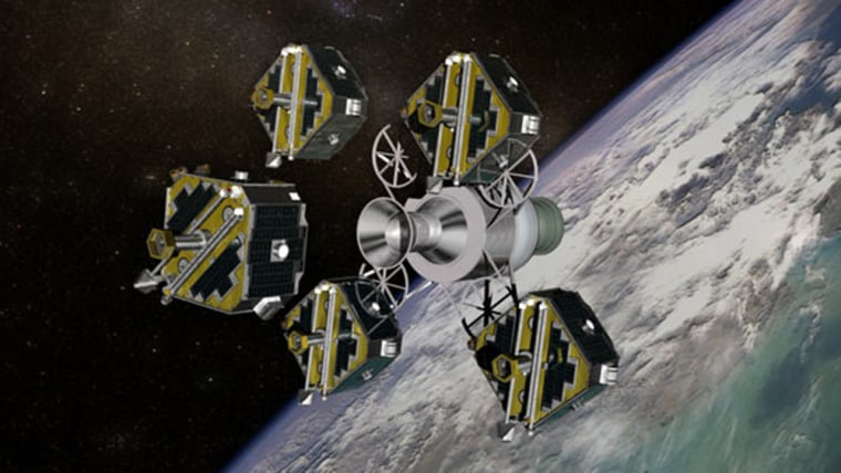 NASA's five THEMIS satellites are shown just after deployment in this artist's interpretation.
